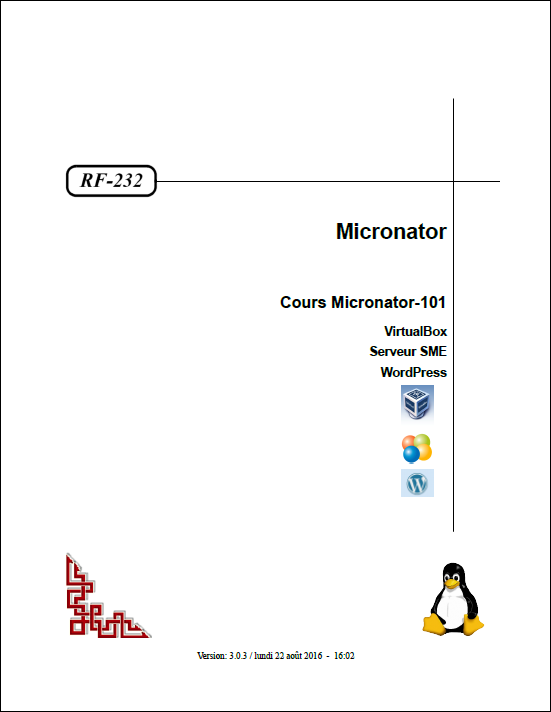 RF-232 Cours Micronator-101 Page titre