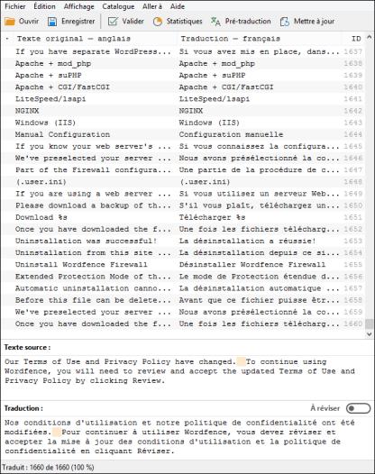 Écran PoEdit de la traduction française pour Wordfence V-7.1.6